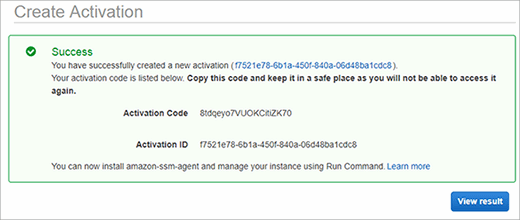 Note the activation code and activation ID after creating an activation.
