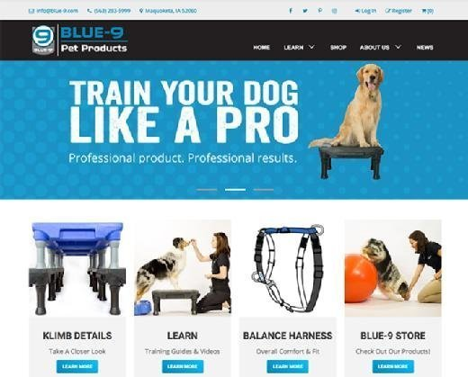 Screenshot of Blue-9 Pet Products website