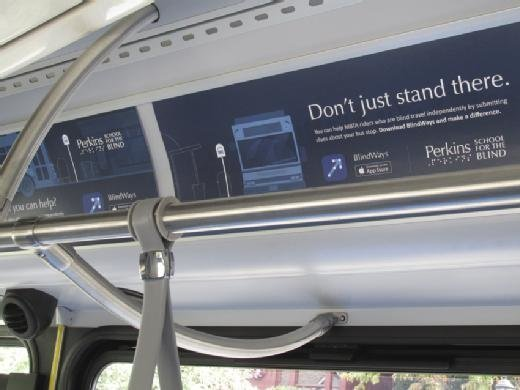 Ads for Perkins' mobile bus stop app