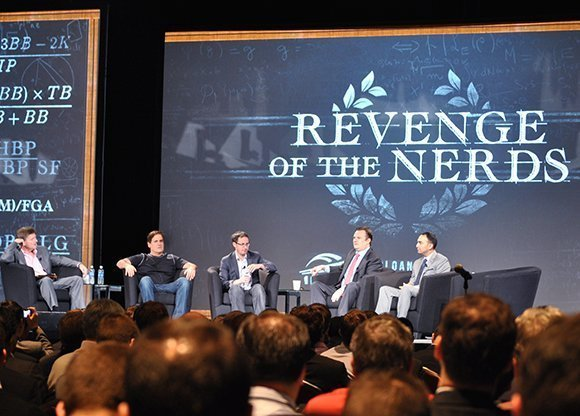Superstar statistician Nate Silver, center, was one of five speakers in the