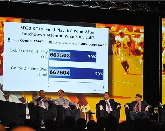 During the in-game football analytics panel at the 2013 MIT Sloan Sports Analytics Conference, Herm Edwards, left, and other NFL experts polled audience members about on-field decision making.