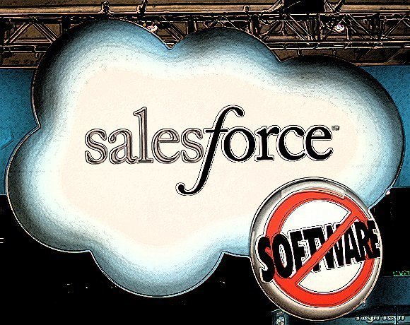 Salesforce.com logo appears in Dreamforce conference expo