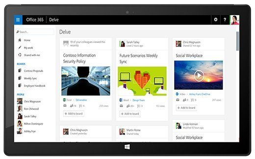 Microsoft Delve interface on a tablet