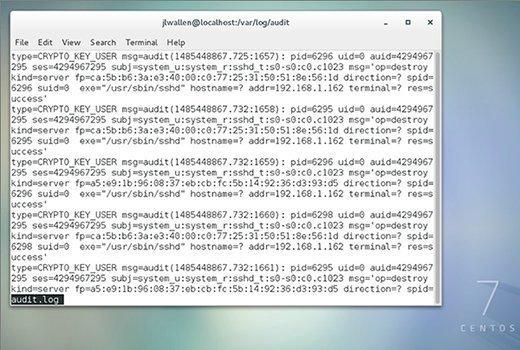 SELinux-Protokolldatei auf einem CentOS7-Server.