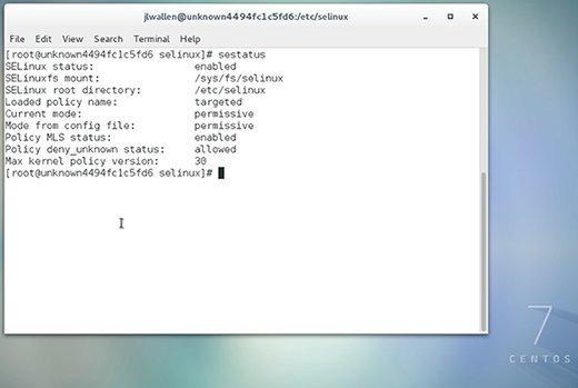 SELinux ist aktiviert und befindet sich im Modus Permissive.