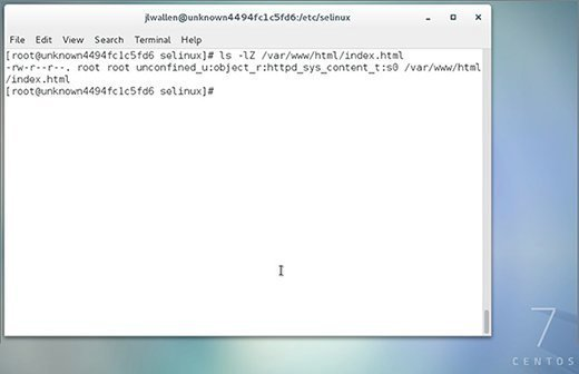 Ausgabe des Befehls ls -lZ /var/www/html/index.html.