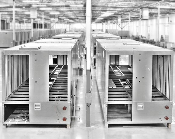 Rows of modular data centers in one of IO's factories