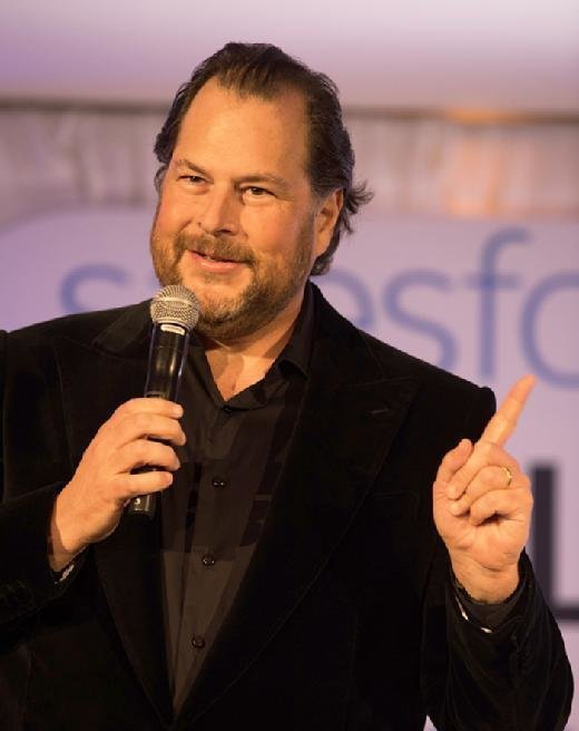 Salesforce Chairman and CEO Marc Benioff presents at Salesforce's inaugural Equality Awards