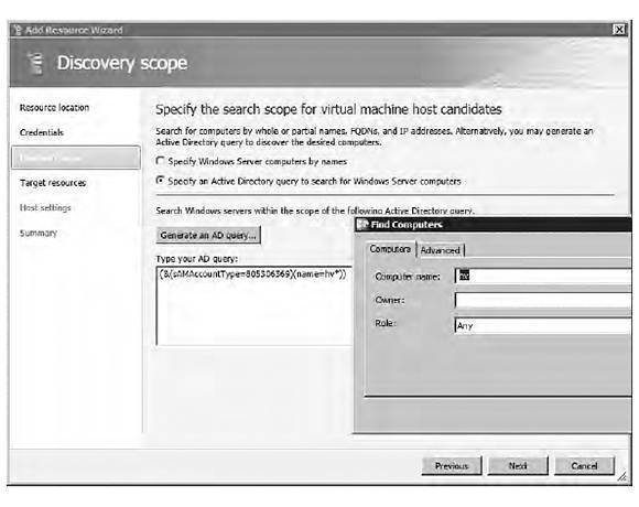 Using an Active Directory query to discover hosts
