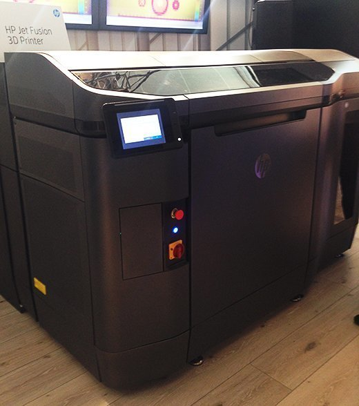 The HP Jet Fusion 3D printer for manufacturing.