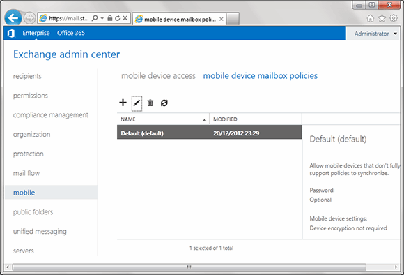 You can implement ActiveSync policies in Exchange 2010 via the EAC.""