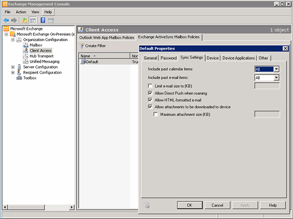 Manage ActiveSync policies in Exchange 2010 with the EMC.