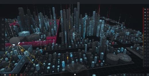 ProtectWise's security software visualizes networks as virtual cityscapes.