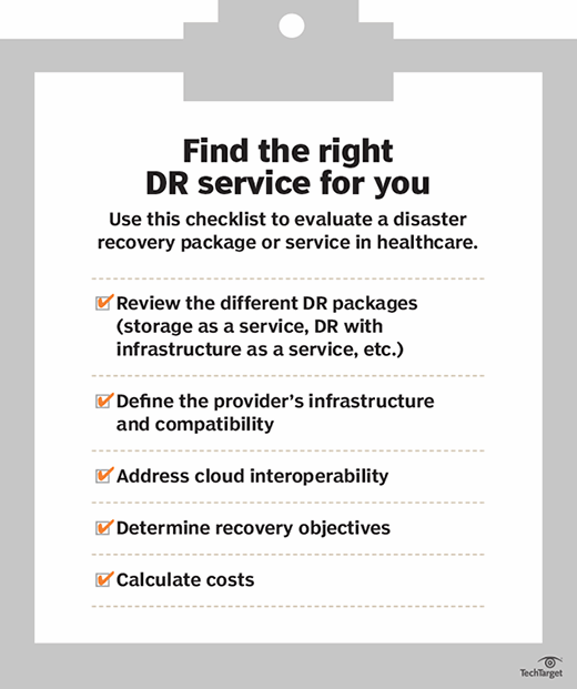Checklist to evaluate a DR service or package in healthcare