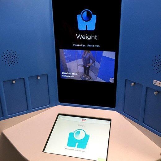 Inside the HealthSpot-Dell kiosk.