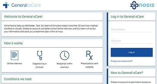 Screenshot, Zipnosis platform, patient facing