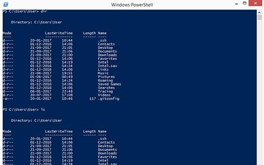 Die Ausgabe des Bash-Befehls Ls unterscheidet sich nicht wesentlich von der Ausgabe für den PowerShell-Befehl dir.