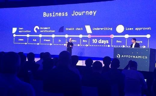Marisa Shumway, senior director of product marketing for AppDynamics, talks about business journeys coming in Business iQ during a session at the AppDynamics Summit in New York City on Oct. 19, 2017.