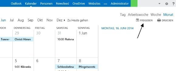 Exchange 2013 Kalender-Freigabe