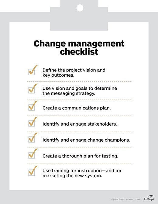 seven essentials to creating a change management plan -- a checklist for implementing new enterprise technology or processes