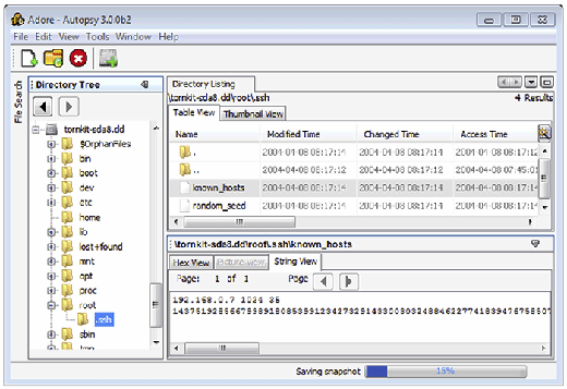 FIGURE 3.16 - SSH usage remnants in known_hosts for the root account viewed using The Sleuth Kit