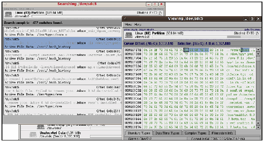 "FIGURE 3.18 - Keyword searching for the string ""adore"" using SMART forensic tool"