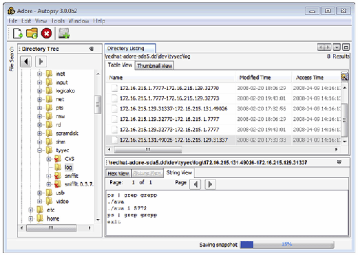 FIGURE 3.9–Sniffer logs on a compromised system viewed using The Sleuth Kit