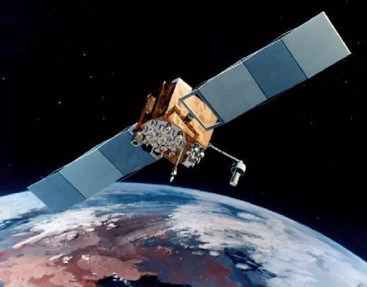 A GPS satellite in orbit above Earth