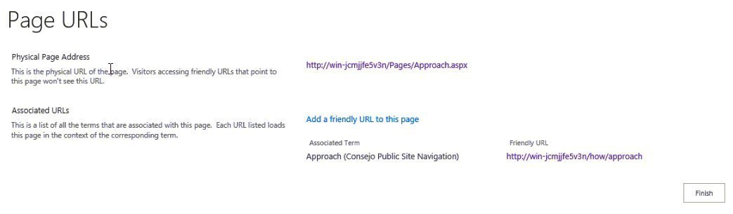 Page URL interface
