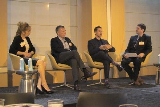From left to right, Barbara Spengler, Nic Di Iorio, Kenneth Corriveau and moderator Phillip Miller speak on a panel at the Argyle CIO Leadership Forum in New York on Tuesday.