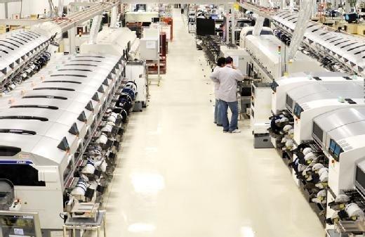 Factory floor of manufacturing plant, Sanmina Corporation