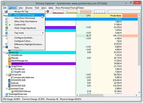 Replacing Windows Task Manager with Process Explorer
