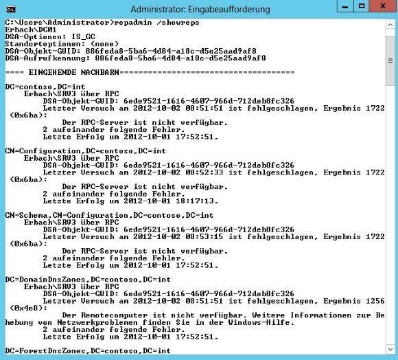Replikation der Domain Controller in der Befehlszeile