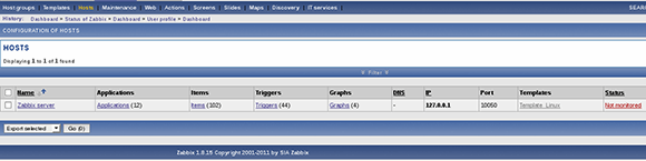 Zabbix interface 2