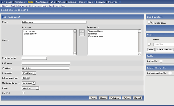 Zabbix interface 4