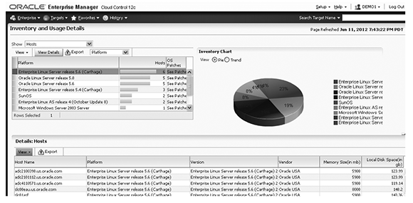 Oracle Enterprise Manager asset inventory