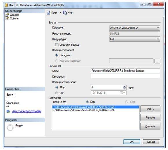 Splitting backup databases