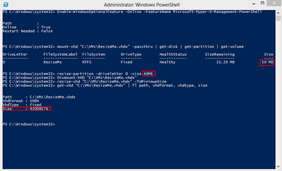 PowerShell view of VHD size.