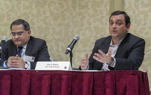 Sach Barot speaks during a panel discussion at the MIT Sloan CFO Summit.