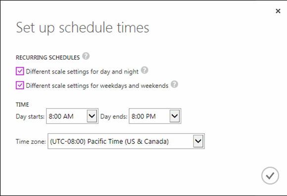 Set Up Schedule Times dialog