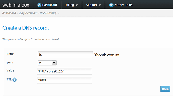 Create a new DNS record.