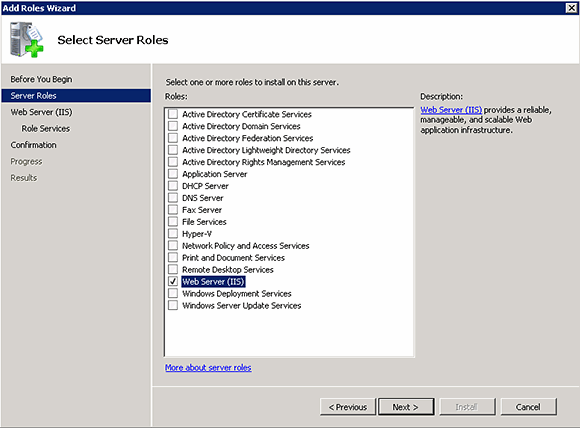 Add the IIS server role.