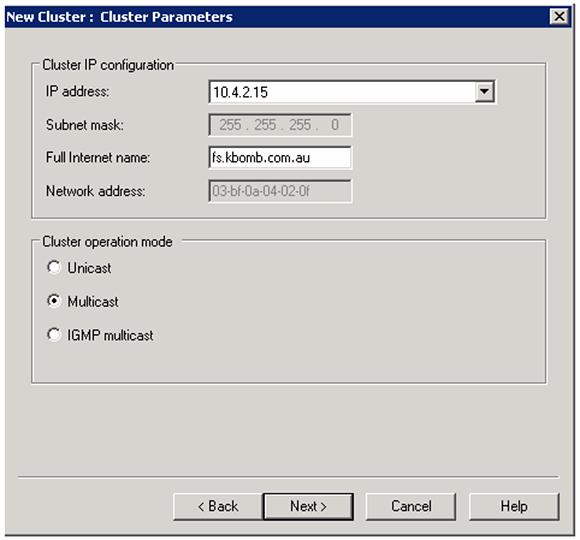 Configure Cluster Parameters.