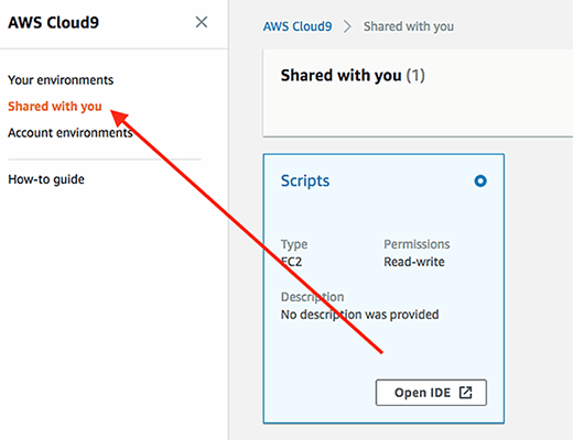 AWS Cloud9 includes a section that displays shared IDEs.