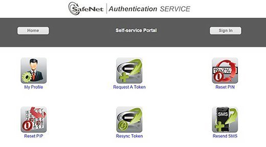 SafeNet Authentication Service's self-service portal allows end users to reset their PINs, request additional tokens and more