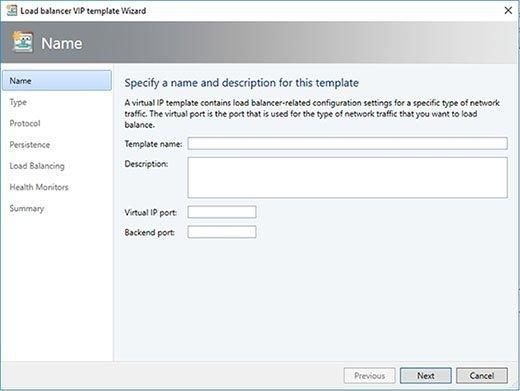 Geben Sie einen Namen, einen virtuellen IP-Port und einen Backend-Port für die Vorlage an.