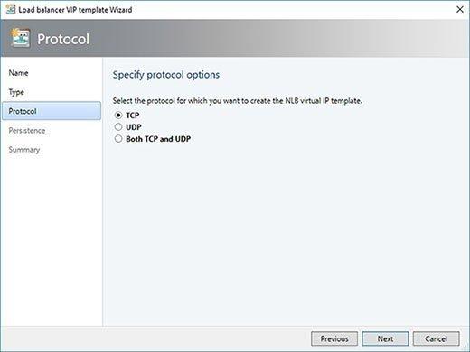 Ihre VIP-Vorlage kann das TCP-Protokoll, das UDP-Protokoll oder beide unterstützen.