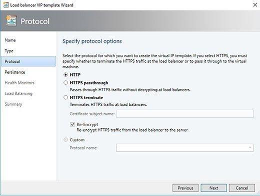 Nutzen Sie einen generischen Lastverteiler, so können Sie HTTP oder HTTPS entweder durchgeschliffen oder mit Terminierung nutzen.