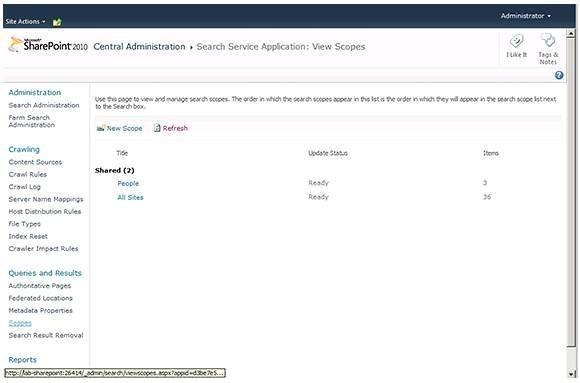 Sharepoint Scopes screenshot