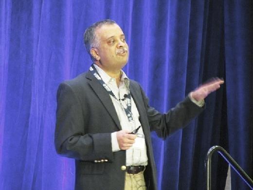 Ravi Shankavaram, vice president of IT at New Balance, speaks at the SIM Boston Technology Leadership Summit